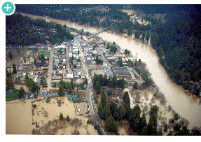 Russian River flooding in Guerneville, California