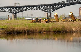 Heavy equipment reconnects tidal flow at the Lincoln Park wetland restoration project