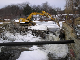 Maxwell Pond dam being removed