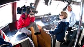 NOAA Administrator Dr. Jane Lubchenco is interviewed for a TV piece