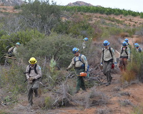 Veterans on a San Diego California Conservation Corps crew work in the Cleveland National Forest