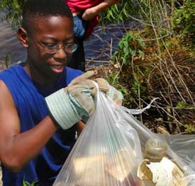 Volunteers cleaning up wetlands